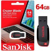 Pen Drive 64gb Sandisk Cruzer Blade Lacrado Original