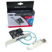 PLACA PCI-E USB 3.0 2 PORTAS 5GBPS 1 PORTA TIPO C 3.1 DP-33C DEX LOW PROFILE