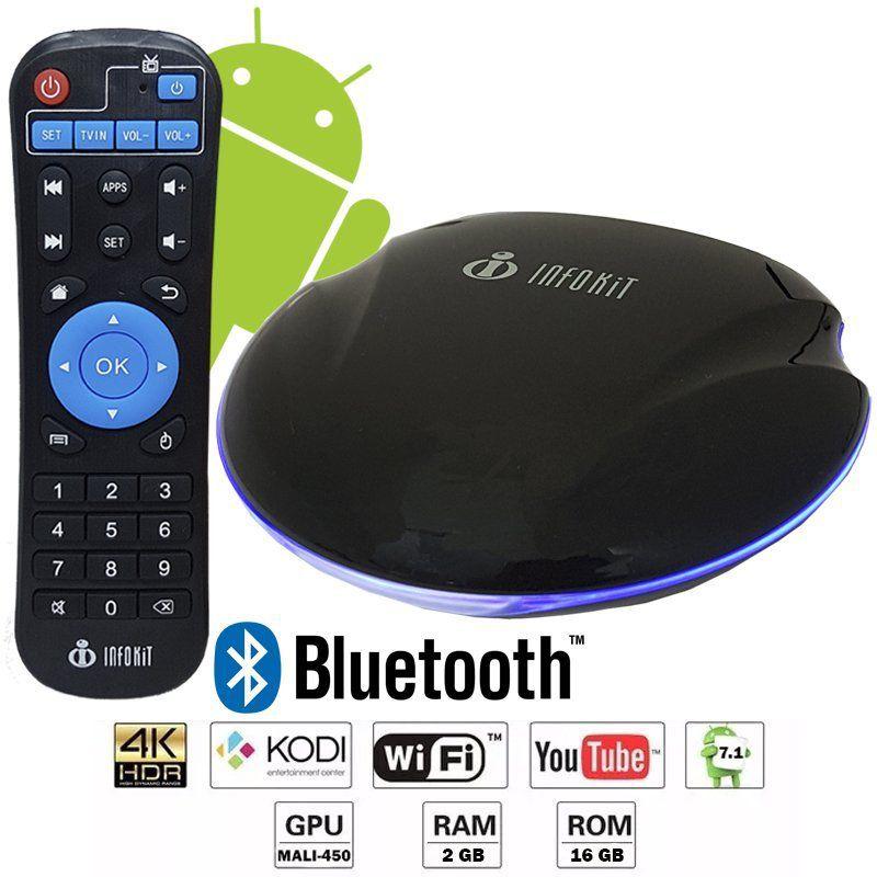 APARELHO CONVERSOR SMART BOX TV QUAD CORE 16GB ANDROID INFOKIT TVB-916G UFO 4K 3D HD BLUETOOTH WIFI