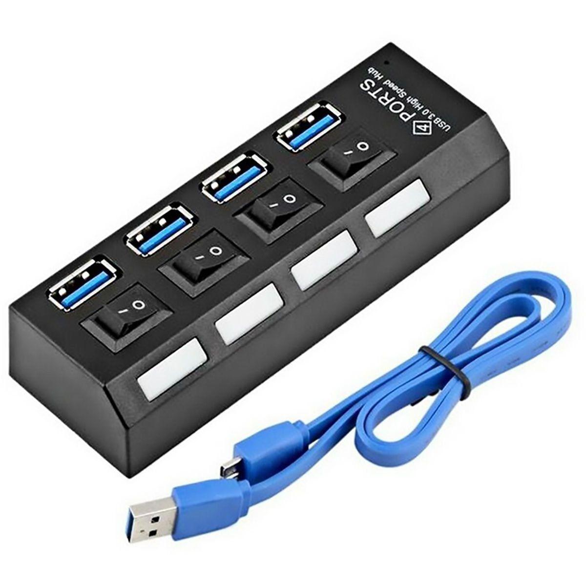 ATACADO: 4 HUB USB 3.0 4 PORTAS COM SWITCH E LED INDICADOR SUPORTA 1TB