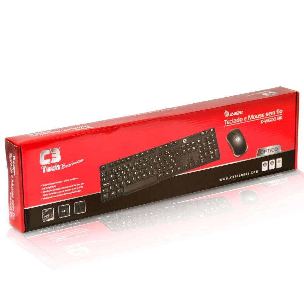 C3 Tech Teclado + Mouse sem Fio óptico USB K-W600 BK Preto