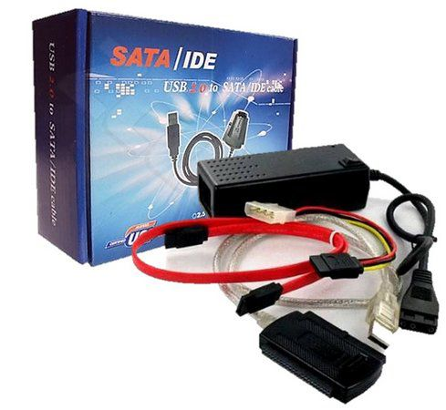 Cabo Adaptador Conversor Usb 2.0 P/ Ide, mini Ide e Sata + Fonte 3 Em 1