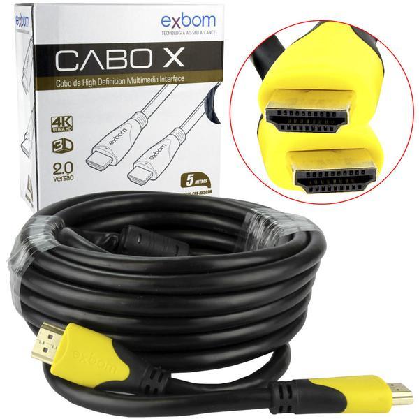 CABO HDMI 2.0 5M SUPORTA 3D E 4K 19PIN SEM MALHA BLINDADO COM FILTRO EXBOM CBX-HX50SM