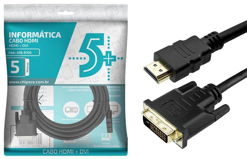 Cabo Hdmi X Dvi-d 24+1 4k 1080p 3d Plug Ouro 5 Metros Chip