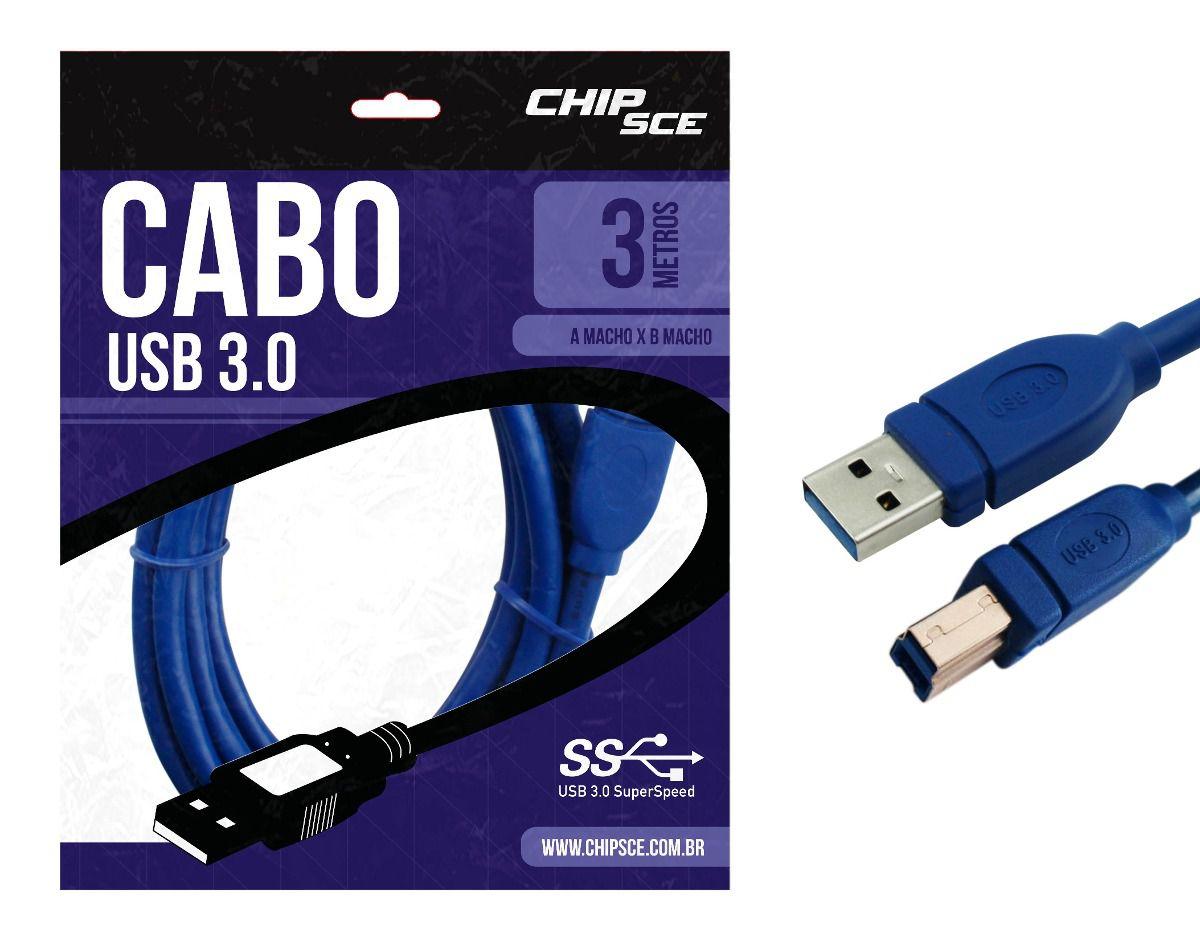 Cabo Usb 3.0 A Macho P/ B Macho, 03 Metros, 018-7732 Chipsce