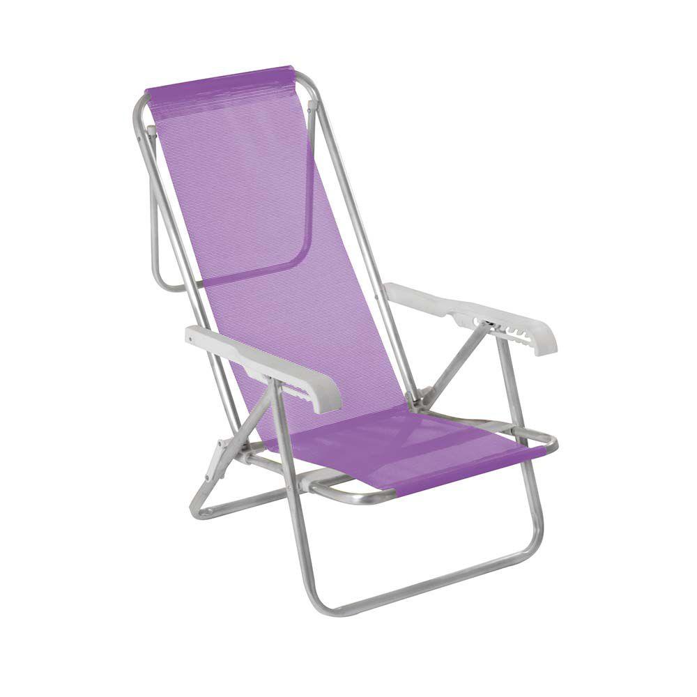 Cadeira Reclinável 8 Posições Alumínio Lilás MOR 2293