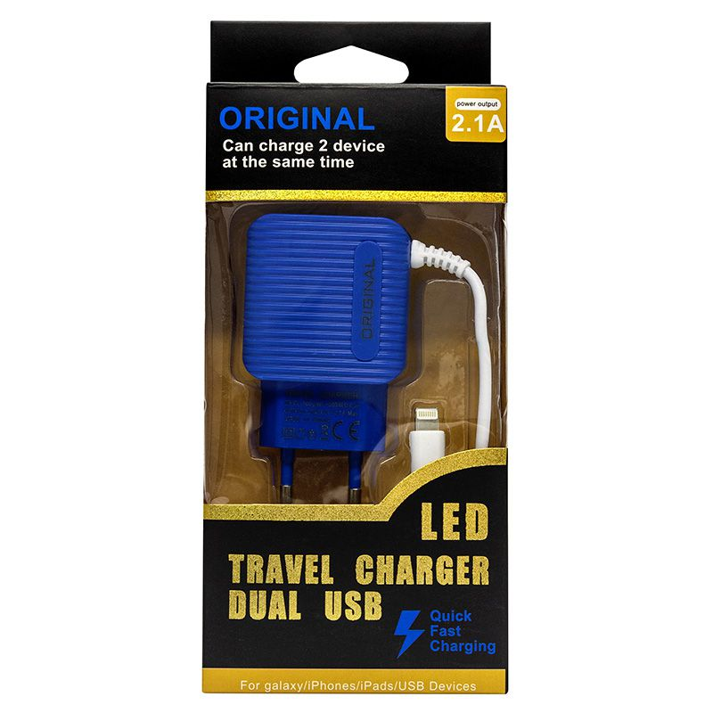 CARREGADOR COM CABO PARA IPHONE LIGHTNING COM 2 USB DEX G78