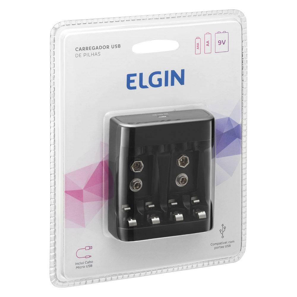 CARREGADOR DE PILHAS P/USO USB C/CABO MICRO USB-USB, ALIM.5V 1A, SAIDAS 5V 300MAH, 9V 30MAH elgin
