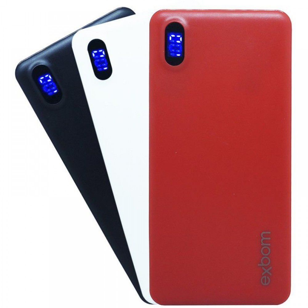 CARREGADOR POWER BANK PORTATIL UNIVERSAL COM DISPLAY INDICADOR DE CARGA 10000 MAH EXBOM PB-M81SLIM