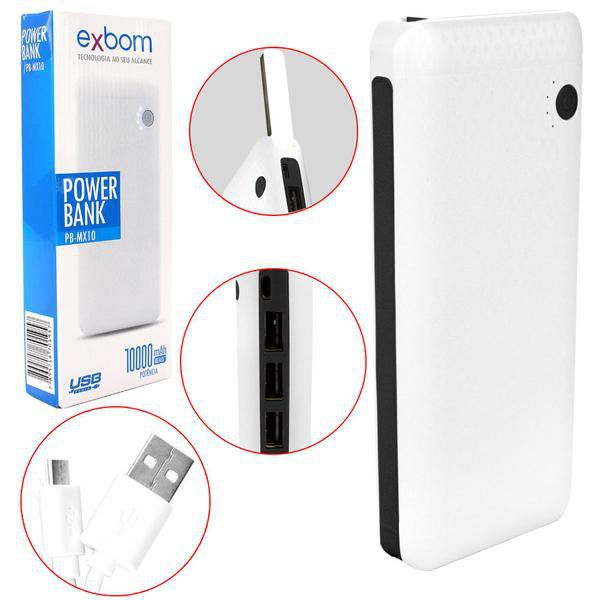 CARREGADOR POWER BANK PORTATIL UNIVERSAL COM LANTERNA DE LED 3XUSB 10000MAH REAL EXBOM PB-MX10