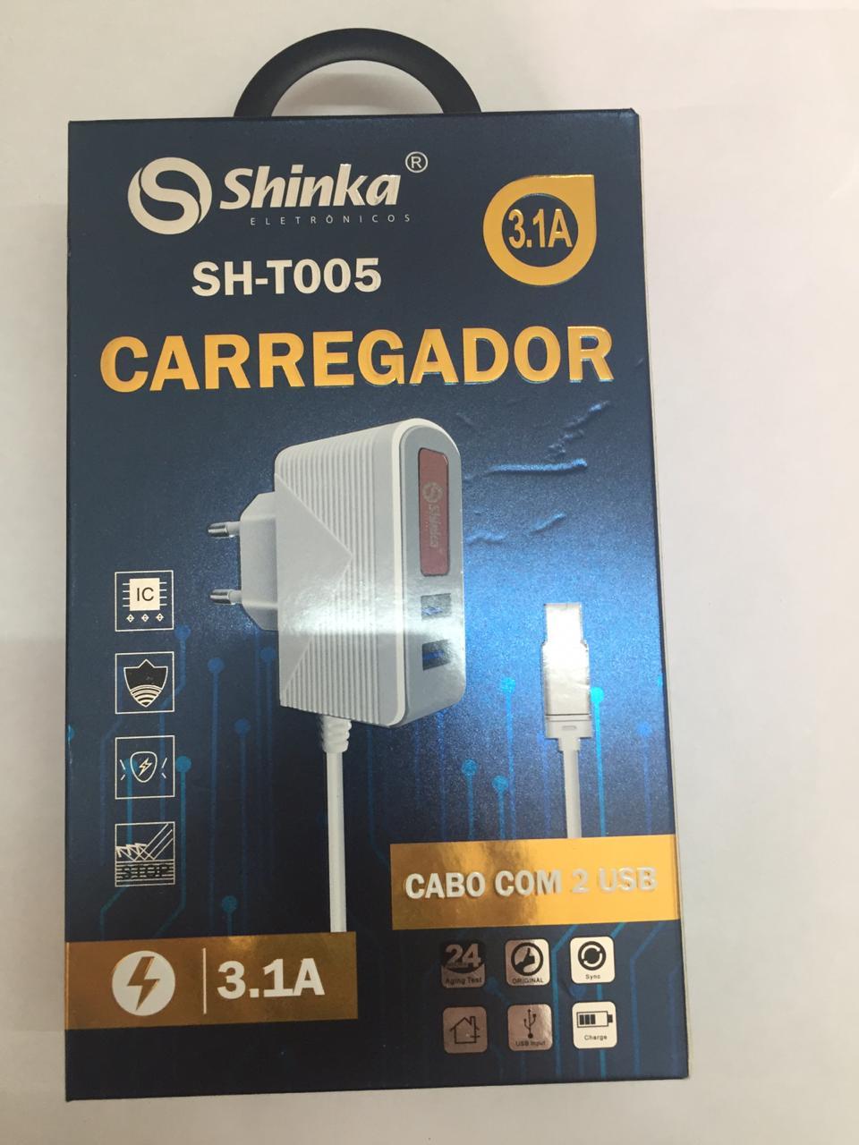 CARREGADOR TOMADA 2 USB 5V- 3.1A - CHIPS INTELIGENTE - PROTEÇAO DE CARGA TOTAL - SHINKA SH-T005-IF