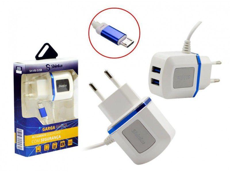 CARREGADOR V8 COM 2 USB SHINKA SH-V8-2USB 3.1A