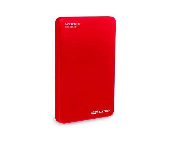 """CASE P/ HD/SSD 2,5"""" USB 3.0 VERMELHO CH-300RD C3 TECH"""