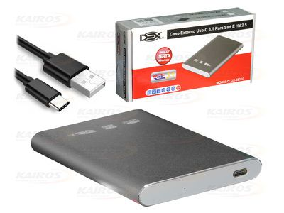 "CASE SATA P/ HD 2,5"" E SSD USB TIPO-C 3.1 DEX - DX-2531C"