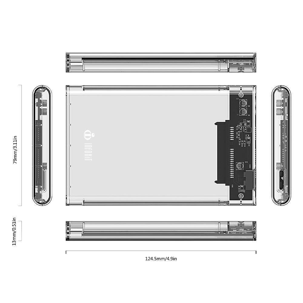 "CASE TRANSPARENTE PARA HD SATA 2.5"" HHD OU SSD USB 3.0 ORIGINAL TRANSMISSAO 6 GPBS INFOKIT ECASE-300"