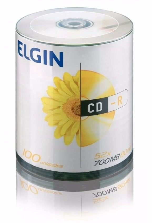 Cd-r elgin Tubo C/ 100 logo 700 Mb 80 Min. Mídia Virgem