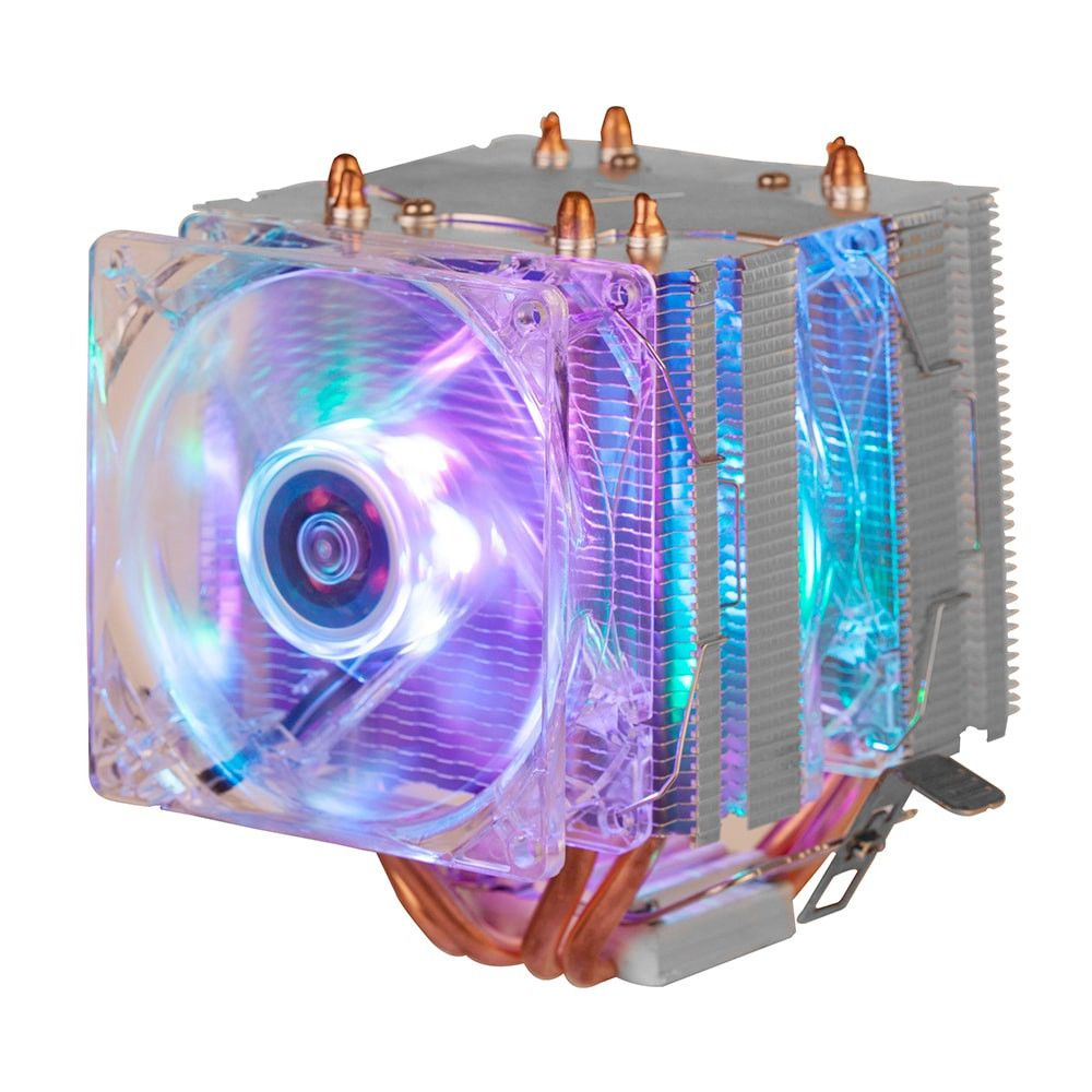 COOLER FAN DUPLO GAMER 6 LEDS ARGB PATA CPU UNIVERSAL PARA PROCESSADOR INTELE AMD - DEX - DX-9206W