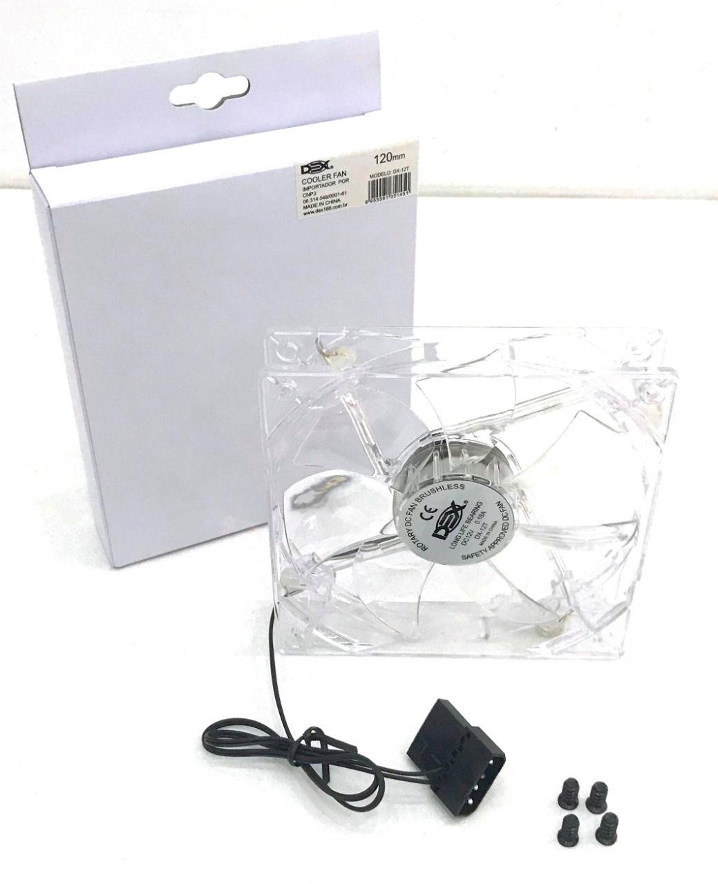 Cooler para Gabinete 120mm com Led Branco DX-12T