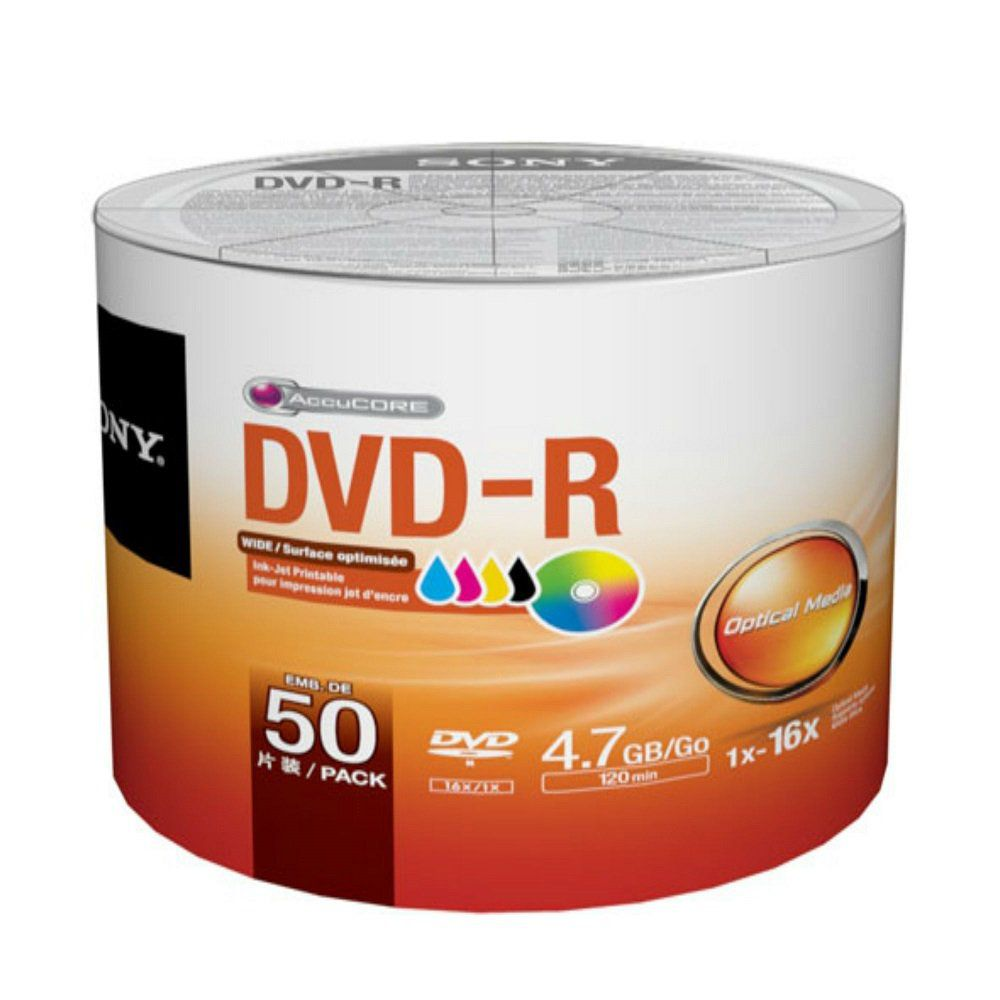 DVD-R SONY PRINTABLE 120 MIN / 4.7GB 16X - PACK 50 MIDIAS