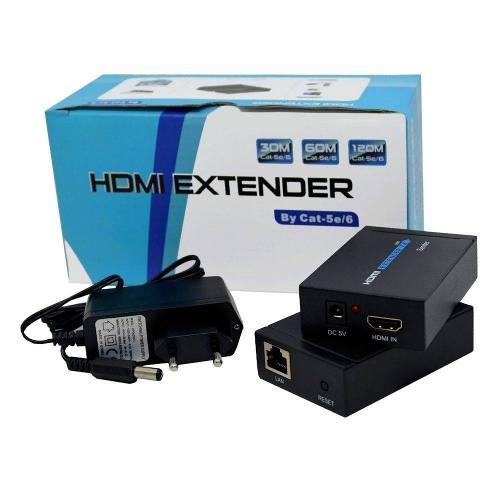 Extensor Hdmi 60 Metros X Rj45 Cat5/ Cat6 3d 1080p Bivolt 2 fontes