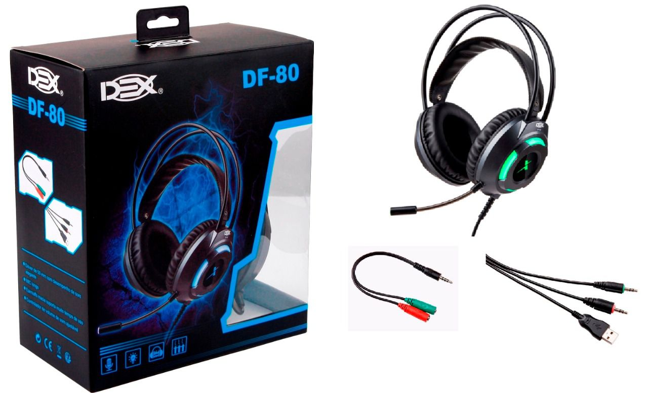 Fone Headset Gamer P3 C/led Usb + Adaptador Y P2 Ps4 pc notebook DF-80