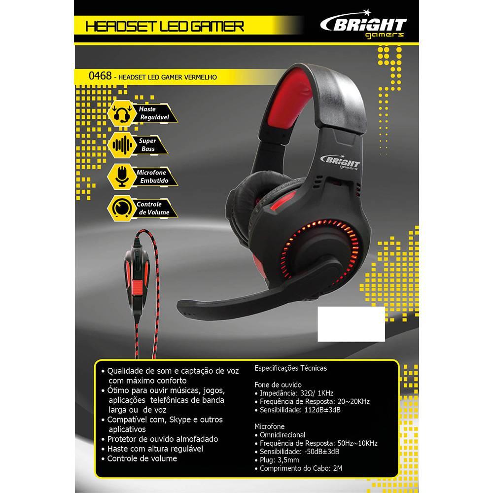 Fone Ouvido Headset Gamer Bright Led Vermelho Usb P2 0468