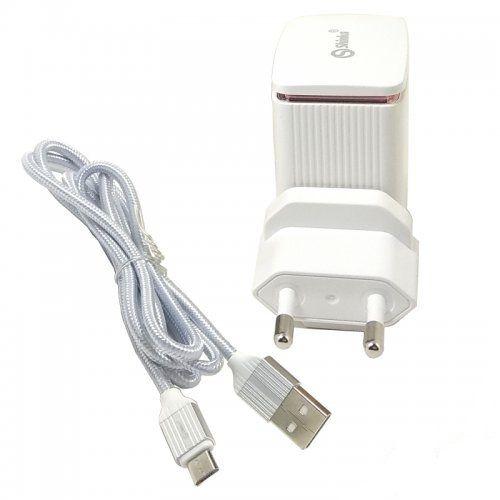 FONTE 1 USB TURBO COM AUTO-ID 18W + CABO V8 TECIDO PRATA 1M SHINKA SH-1301