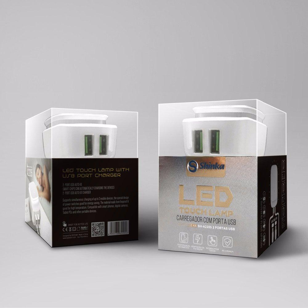 FONTE 2 USB COM LED TOUCH( COM CABO iphone) SH-A2205-5G