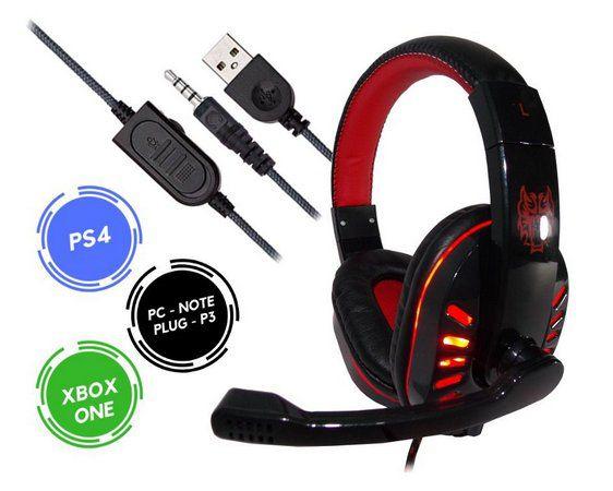 HEADFONE GAMER USB PARA PS4 XBOX ONE COM MICROFONE LED COLORIDO E CABO REFORÇADO EXBOM HF-G310P4