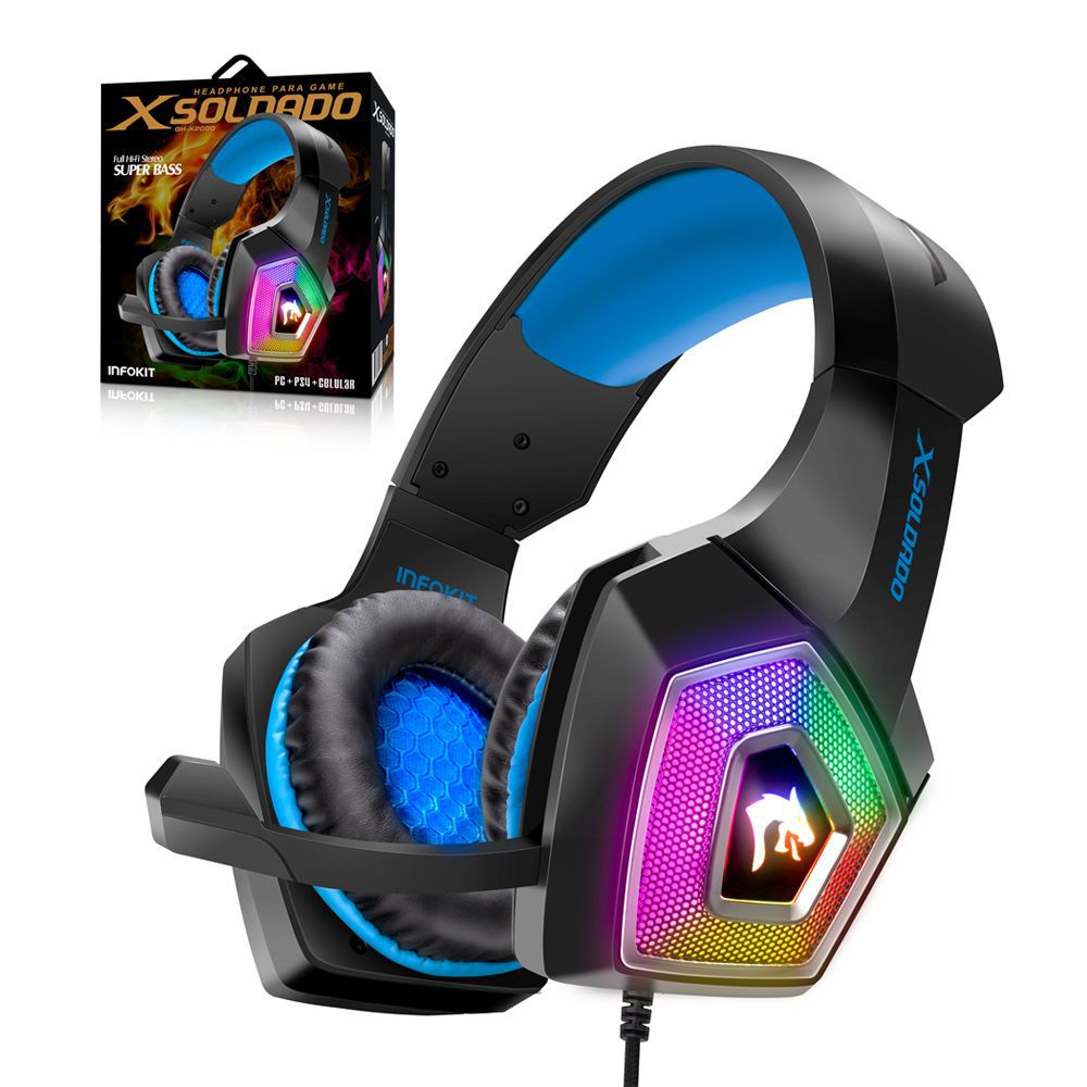 Headphone Gamer Hyperx RGB Som Surround PS4/PC/SMARTPHONE microfone articulado INFOKIT GH-X2000