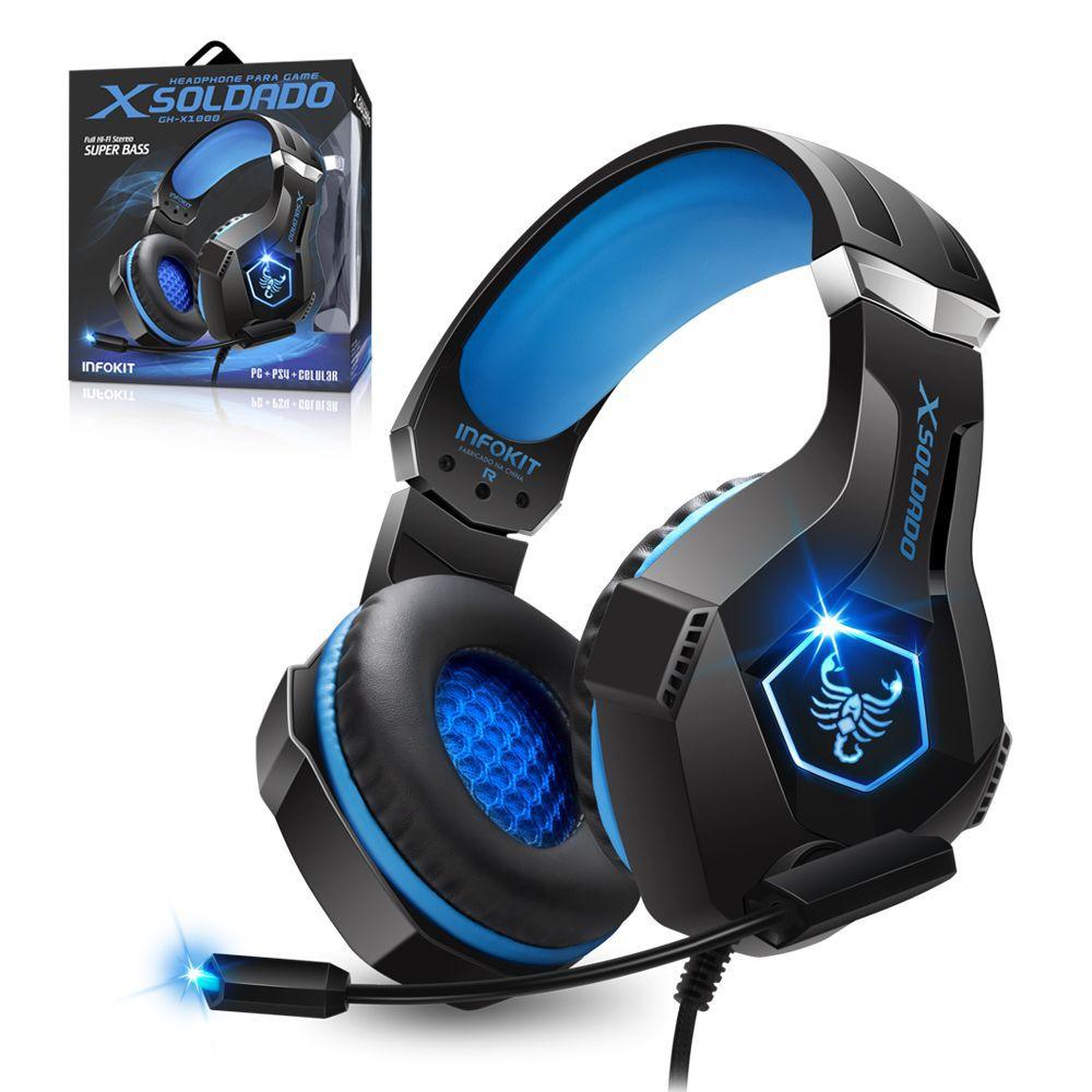 Headphone Gamer Scorpion bass PS4/PC/SMARTPHONE microfone articulado LED RGB INFOKIT GH-X1000
