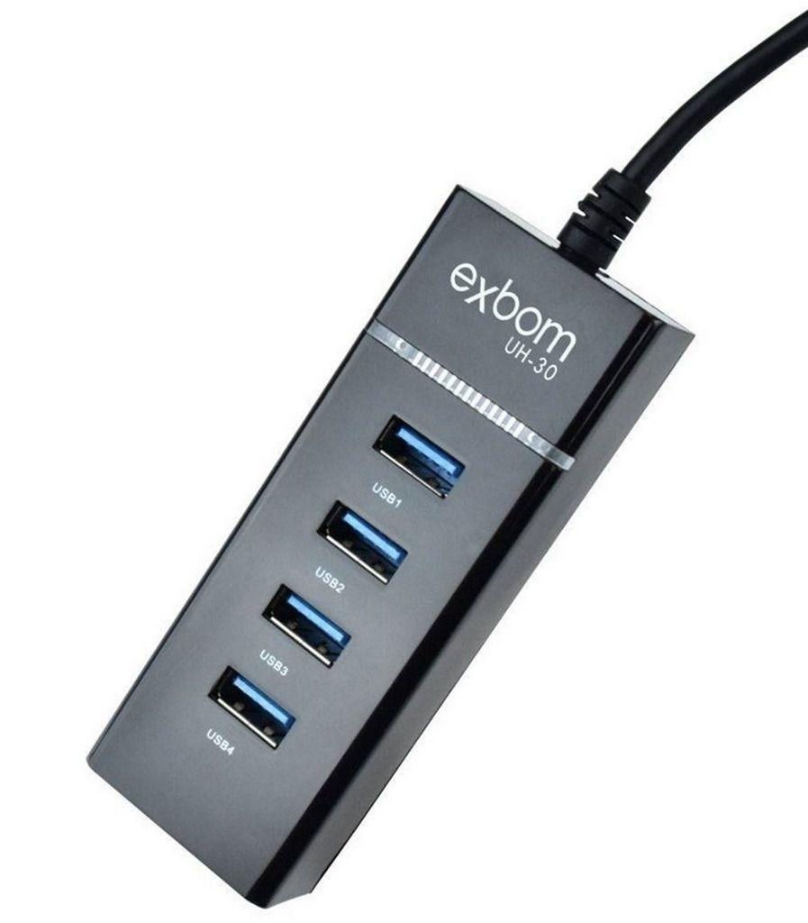 HUB USB 3.0 EXPANSAO 4 PORTAS SUPER SPEED 5.0GB/S COM LED INDICADOR 02605 EXBOM