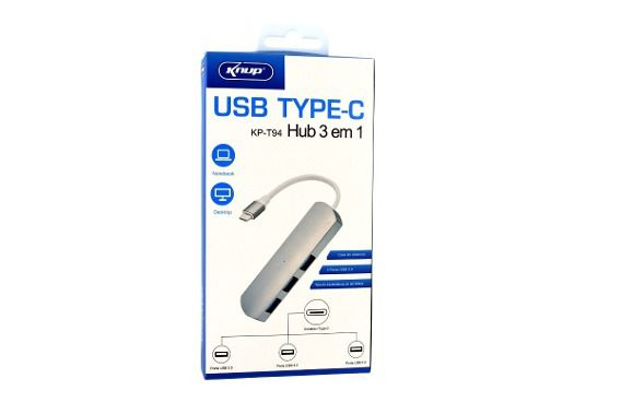 Hub Usb Type-c 3 Portas USB 3.0 Pc Macbook Thunderbolt Alumínio