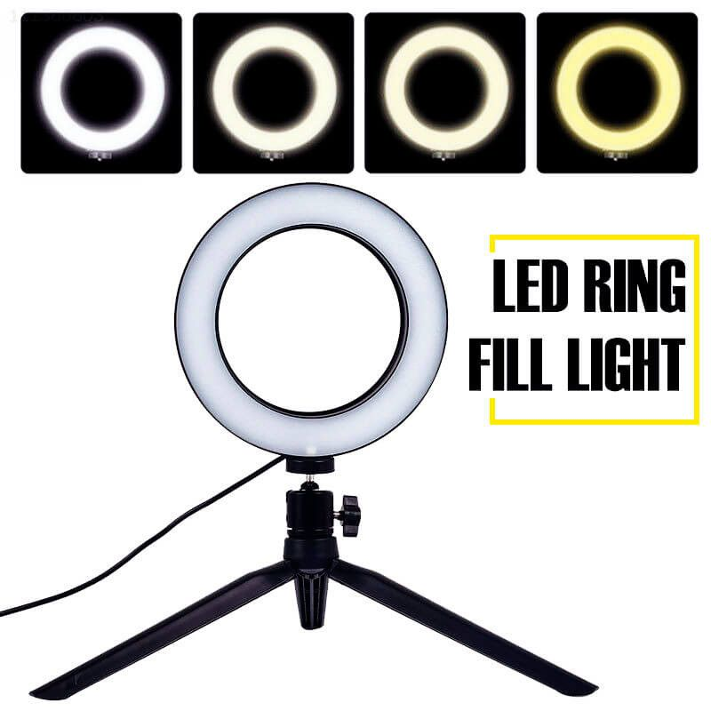Iluminador ring ligth de LED 10 polegadas para foto e vídeo 120 LEDS controle de cor 3200K à 5600K com tripe 03209