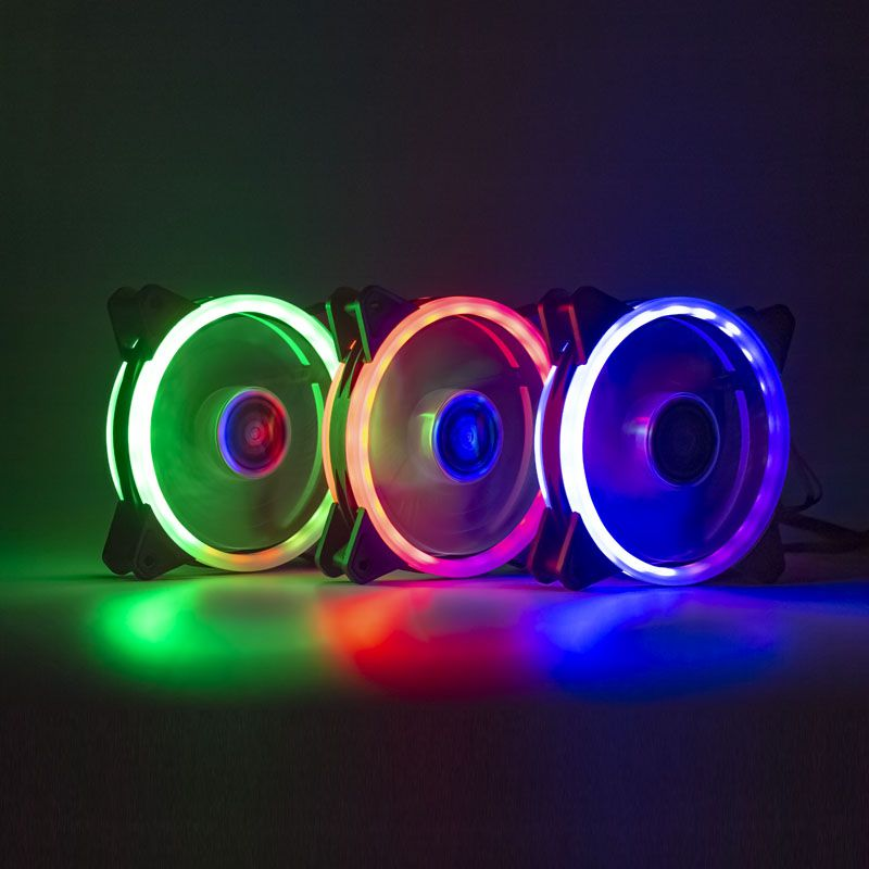 Kit 3 Cooler Led 120mm Rgb Fita Led E Controle Dx-123w