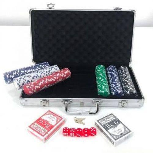 Maleta Kit Jogo Poker 300 Fichas Oficiais, Baralho, Dados
