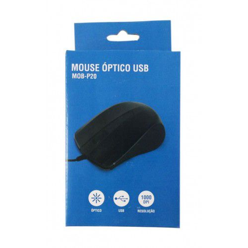 MOUSE OPTICO PRETO MOB-P25 USB BRAILE