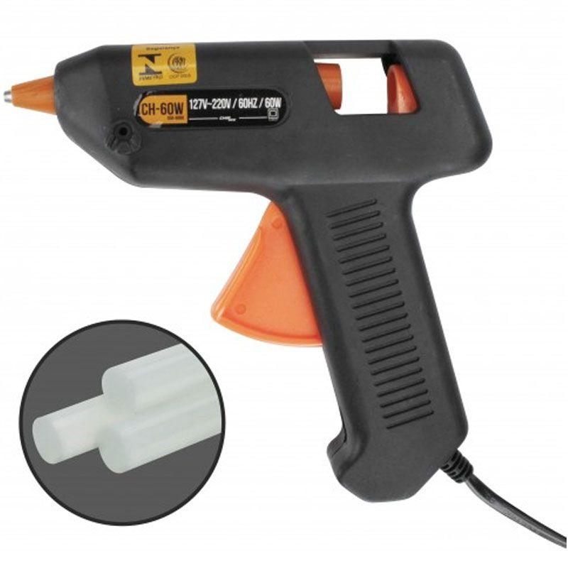 Pistola Cola Quente Profissional 60W Bastão Bivolt 110/220v 11MM Muito Quente - Chip sce