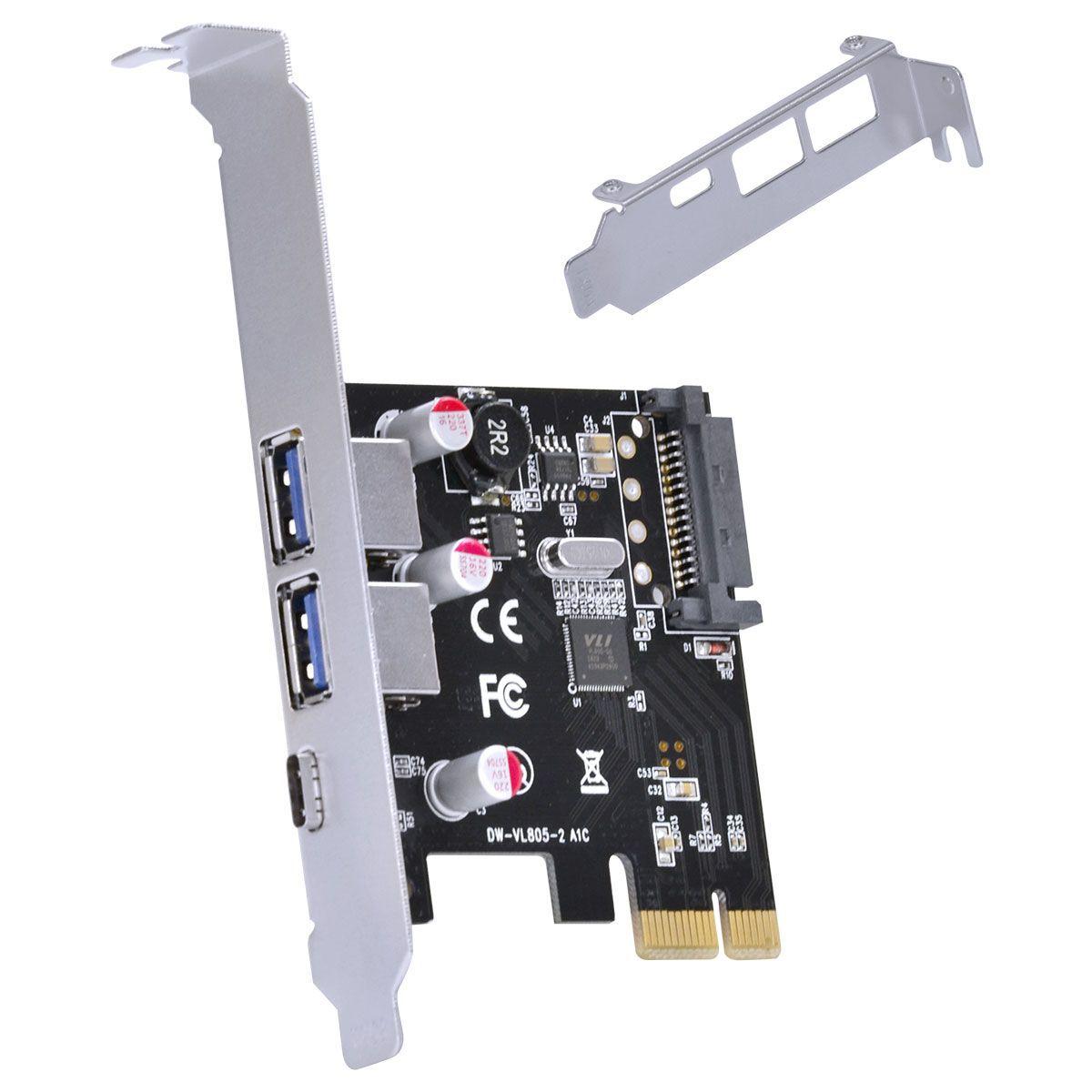PLACA USB COM 2 USB 3.0 + USB TIPO C 3.1 PCI EXPRESS PCI-E X1 COM LOW PROFILE - P2U30C31-LP vinik