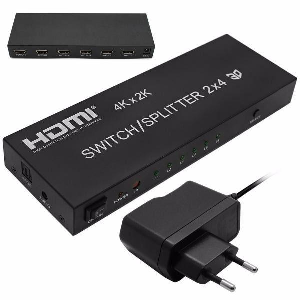 SPLITTER HDMI DIVISOR 2 ENTRADA X 4 SAIDAS V1.4 3D 4K