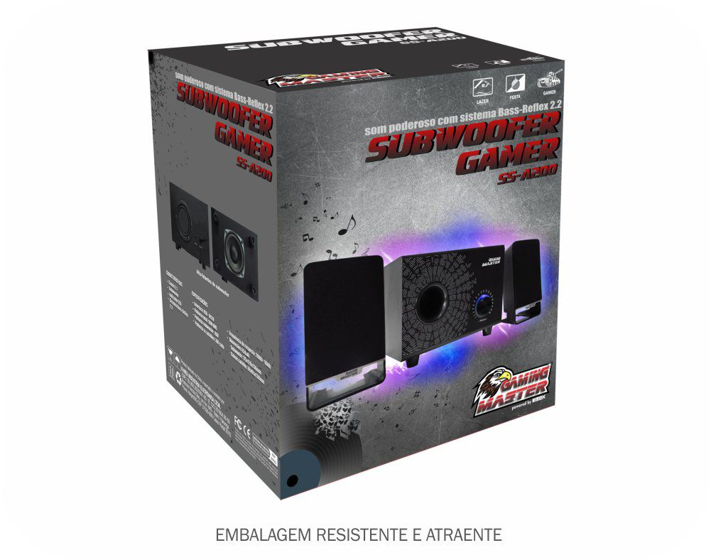 SUBWOOFER GAMER 2.1 16W RMS PRETO SS-A200 K-MEX