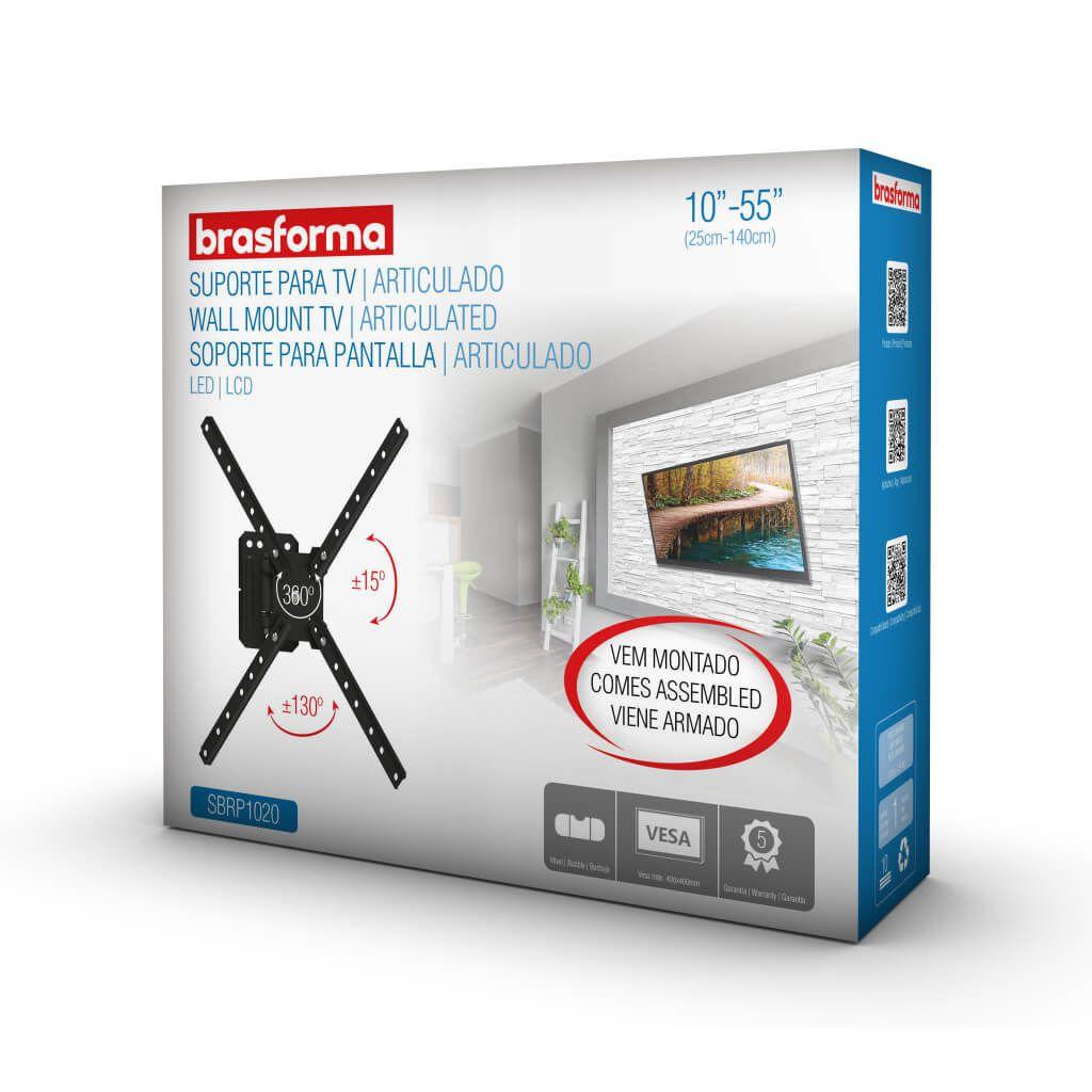 Suporte ARTICULADO para TV LED, LCD, Plasma, 3D e Smart TV de 10? a 55? ? Brasforma SBRP1020