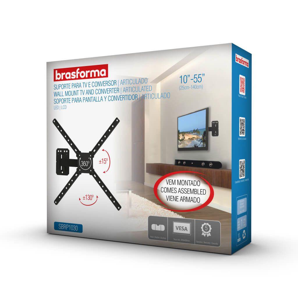 Suporte ARTICULADO para TV LED, LCD, Plasma, 3D e Smart TV de 10? a 55? ? Brasforma SBRP 1030