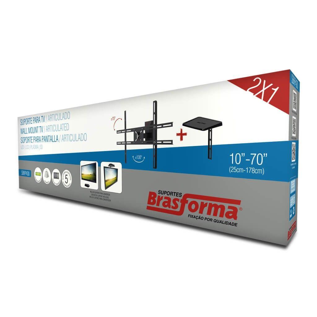 Suporte de Parede Articulado Brasforma SBRP430 para TVs LCD, LED, Plasma e 3D de 10? a 70? + Suporte de DVD