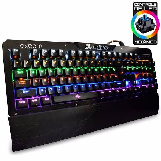 TECLADO GAMER MECANICO COM ILUMINACAO LED RGB PARA JOGOS EM METAL EXBOM BK-GX1