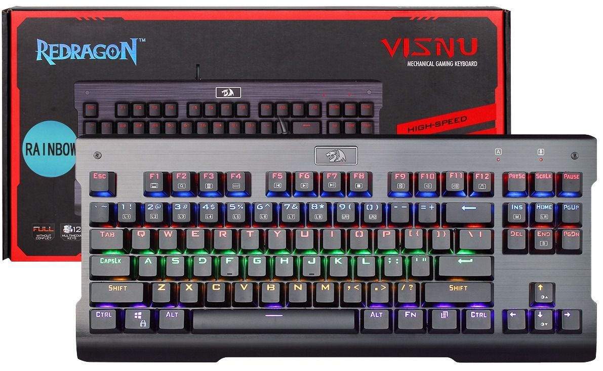 Teclado Mecânico Redragon K561 Visnu Rainbow Switch Blue