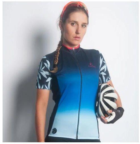 Camisa de ciclismo Feminina Mauro Ribeiro Caribe Azul