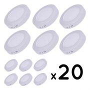 20 Plafons Luminária LED  sobrepor Redondo 24w Luz Branca fria