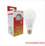 Kit 10 Lâmpadas Led Bulbo Comum 9w E27 - 801 Lumens - Super Econômica