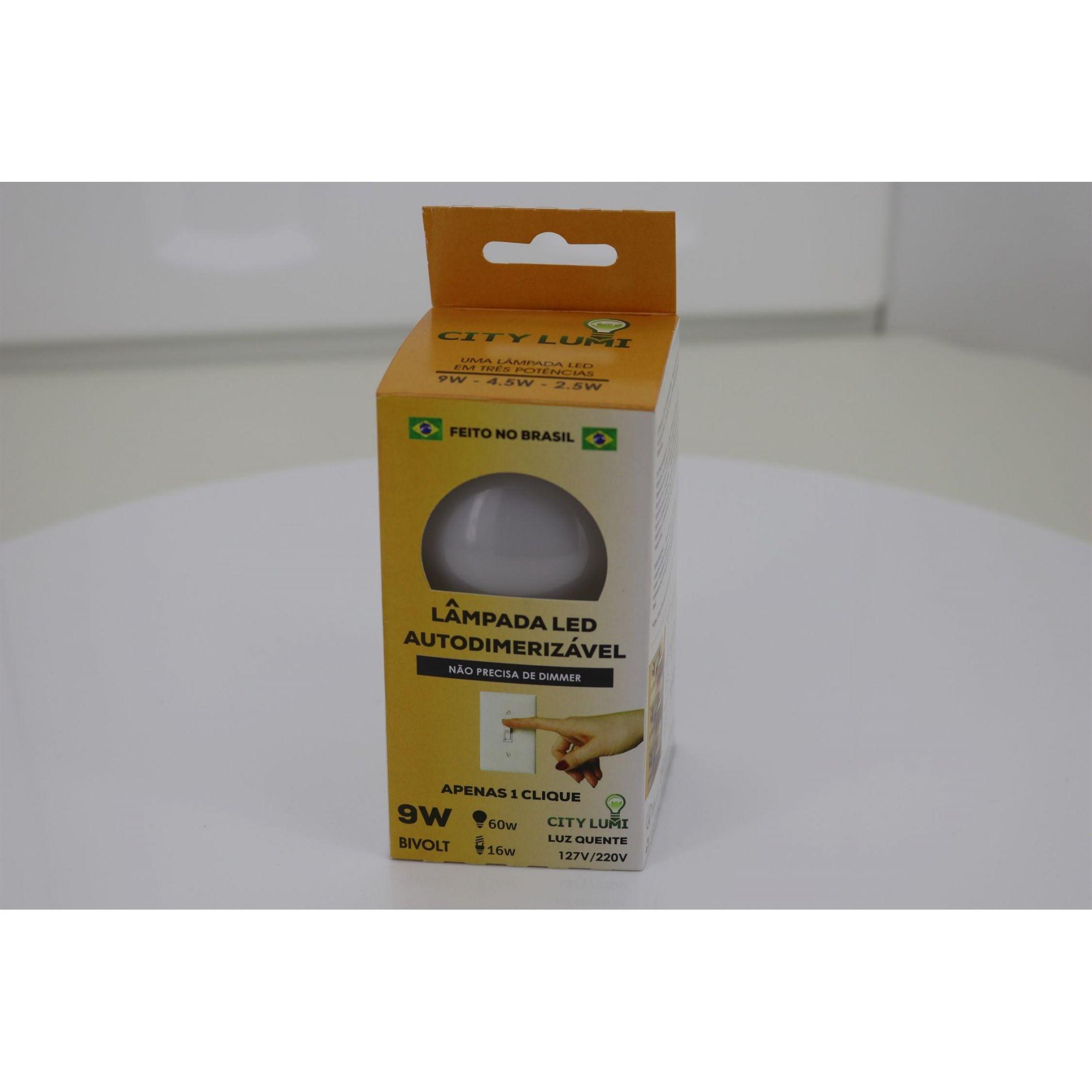 50 Lâmpadas Led Bulbo Autodimerizável 9W - Luz branca quente 3500K